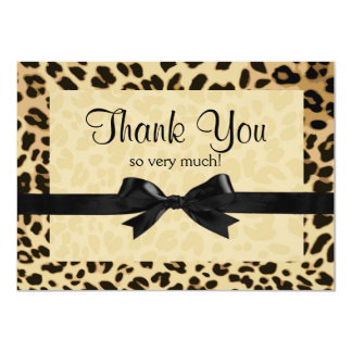 Leopard Print Bow Thank You Note 4.5x6.25 Paper Invitation Card