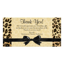 Leopard Print Bow Thank You Note Cards