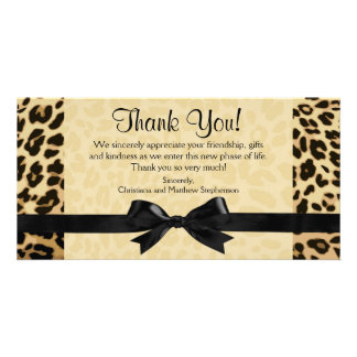 Leopard Print Bow Thank You Note Cards Photo Card