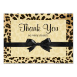 "Leopard Print Bow Thank You Note 4.5"" X 6.25"" Invitation Card"