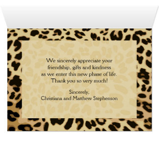 Leopard Print Bow Thank You Note Stationery Note Card