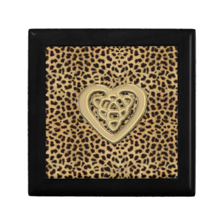 Leopard Print Box with Gold Celtic Heart