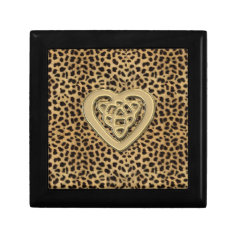 Leopard Print Box with Gold Celtic Heart Gift Box