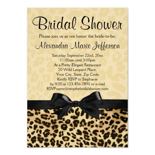 Leopard Print Bridal Shower Invitation Zazzle