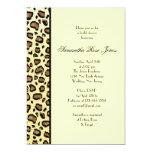 Leopard Print Bridal Shower Invitation Left Stripe