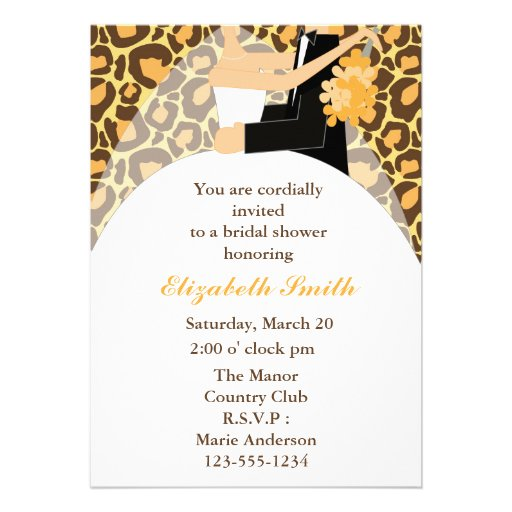 Leopard Print Bride and Groom Wedding Shower 5x7 Paper Invitation Card ...
