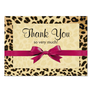 Leopard Print Bright Pink Bow Thank You Note 4.5x6.25 Paper Invitation Card