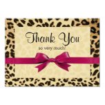 Leopard Print Bright Pink Bow Thank You Note Custom Invitations