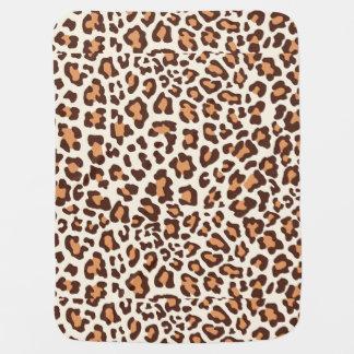 Leopard Print Brown, Tan, Cream Swaddle Blanket