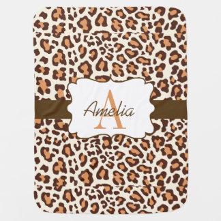 Leopard Print Brown Tan Cream Swaddle Blanket