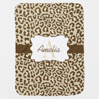 Leopard Print Brown Tan Peach Swaddle Blanket