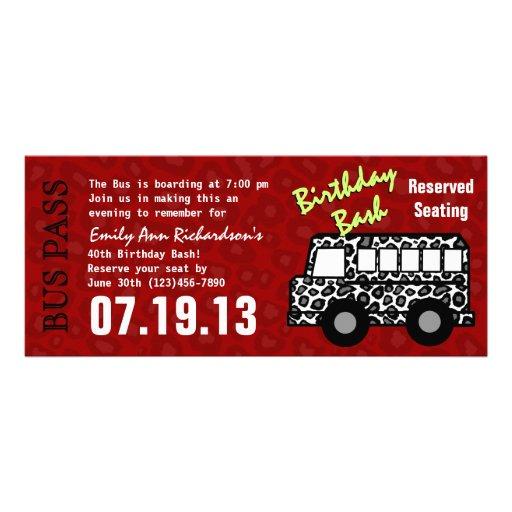 Personalized party bus invitations custominvitations4u leopard print bus pass birthday party custom invite stopboris Image collections