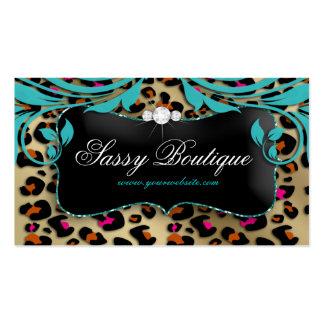 Leopard Print Business Card Blue Swirls Jewelry