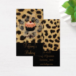 Leopard print Catering Pastry Chef Cupcake Bakery Business Card