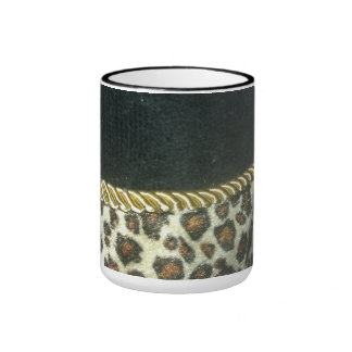 leopard print coffee cup with gold trim ringer coffee mug