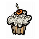 leopard print cupcake post cards