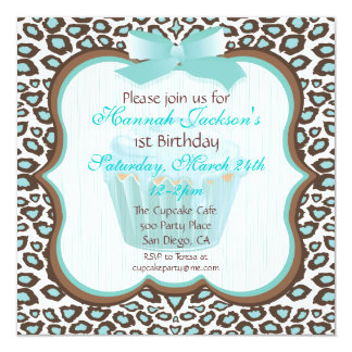 leopard print cupcake teal birthday party invites