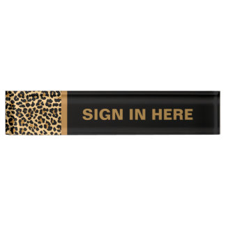 Leopard Print Custom Desk Name Plate
