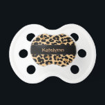 """Leopard Print Custom Monogram Baby Pacifier<br><div class=""""desc"""">Trendy cute leopard print pattern custom personalized monogram name or initial featuring a black colored accent ribbon.  This baby pacifier is great to give as a gift for all occasions.  Click the &quot;Customize it!&quot; button to change the text size,  text color,  font style and more!</div>"""
