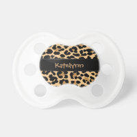 Leopard Print Custom Monogram Baby Pacifier