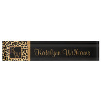 Leopard Print Custom Monogram Desk Name Plate