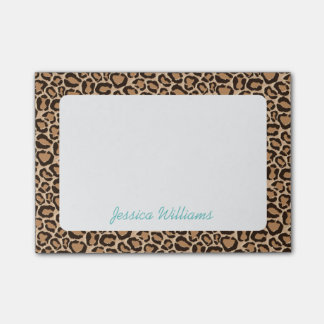 Leopard Print Custom Monogram Post-it® Notes