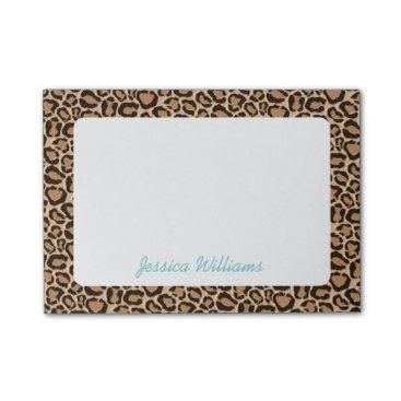 jenniferstuartdesign Leopard Print Custom Monogram Post-it Notes
