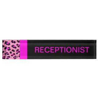 Leopard Print Custom Pink Desk Name Plate