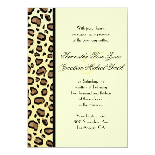 Leopard Print Custom Wedding Invitation