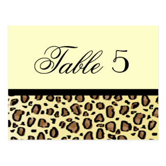 Leopard Print Custom Wedding Table Number Postcard