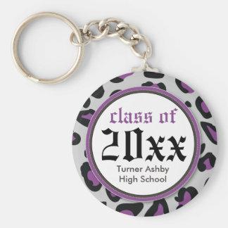 Leopard Print Customized Graduation Keychain lilac