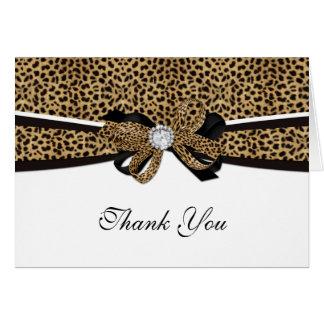 Leopard Print Diamond Gem Rhinestone Thank You Greeting Card