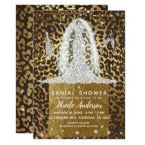 Leopard Print Diamond Wedding Dress Bridal Shower Invitation
