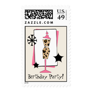 Leopard Print Dress Form Birthday Party Stamps