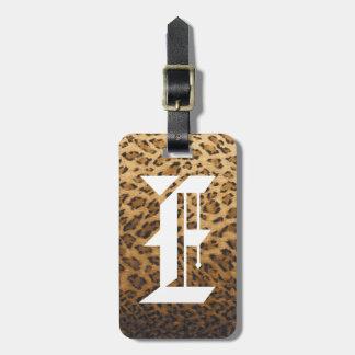 Leopard Print E monogram initials Luggage Tag