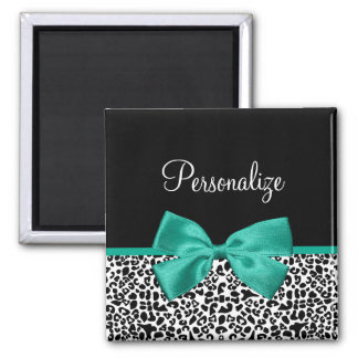 Leopard Print Emerald Green Ribbon Bow Chic Name 2 Inch Square Magnet