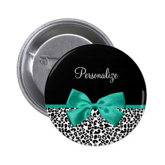 Leopard Print Emerald Green Ribbon Bow Chic Name 2 Inch Round Button