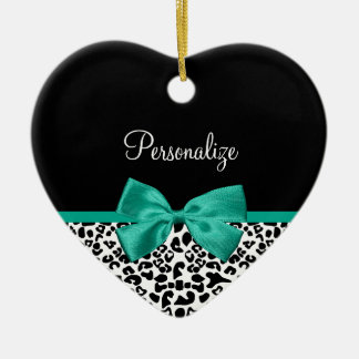 Leopard Print Emerald Green Ribbon Bow Chic Name Ceramic Ornament