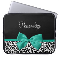 Leopard Print Emerald Green Ribbon Bow Chic Name Computer Sleeve