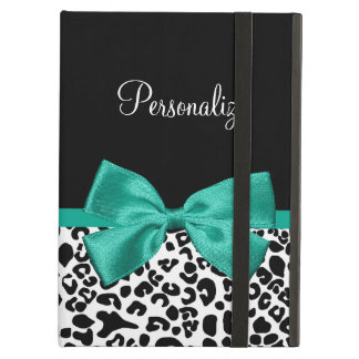 Leopard Print Emerald Green Ribbon Bow Chic Name iPad Air Covers