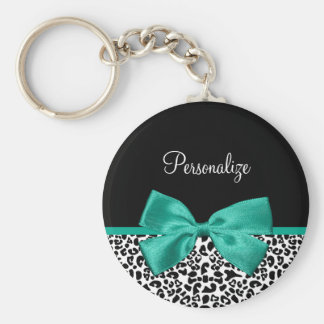 Leopard Print Emerald Green Ribbon Bow Chic Name Basic Round Button Keychain