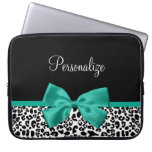 Leopard Print Emerald Green Ribbon Bow Chic Name Laptop Computer Sleeves