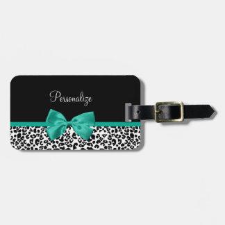 Leopard Print Emerald Green Ribbon Bow Chic Name Bag Tags