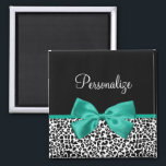 """Leopard Print Emerald Green Ribbon Bow Chic Name Magnet<br><div class=""""desc"""">Personalize by adding the name of any girly girl to this trendy black and white leopard print magnet with a girly emerald green ribbon tied into a cute bow. This stylish animal print design is a flat printed image,  and does not contain actual ribbon.</div>"""