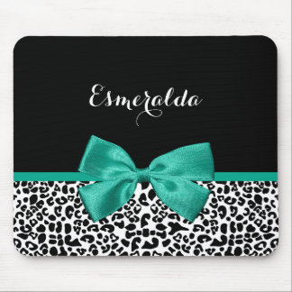 Leopard Print Emerald Green Ribbon Bow Chic Name Mouse Pad
