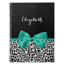 Leopard Print Emerald Green Ribbon Bow Chic Name Notebook