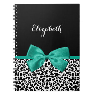 Leopard Print Emerald Green Ribbon Bow Chic Name Spiral Note Books