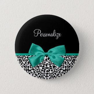 Leopard Print Emerald Green Ribbon Bow Chic Name Pinback Button