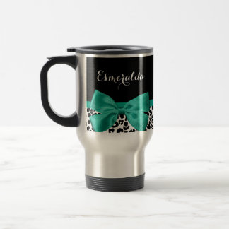 Leopard Print Emerald Green Ribbon Bow Chic Name Travel Mug