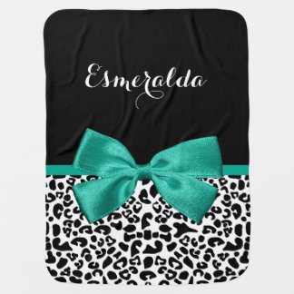 Leopard Print Emerald Green Ribbon Bow Chic Name Swaddle Blankets